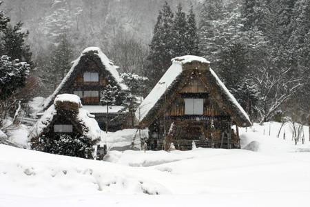 世界遺産 白川郷 ~厳しい冷え込みとなり、氷点下の冬日~茅葺き屋根も雪で白く ⑥