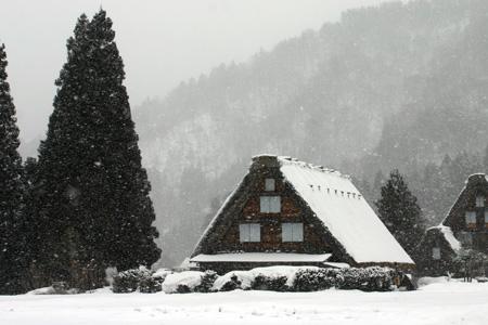 世界遺産 白川郷 ~厳しい冷え込みとなり、氷点下の冬日~茅葺き屋根も雪で白く ⑧