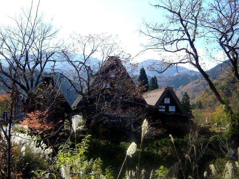 世界遺産 白川郷は 紅葉も終盤 木の葉の落ちた山々がじっと冬の便りを待っているようです ⑤