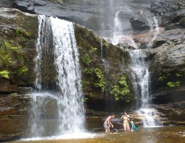 滝壺で遊ぶ女子学生