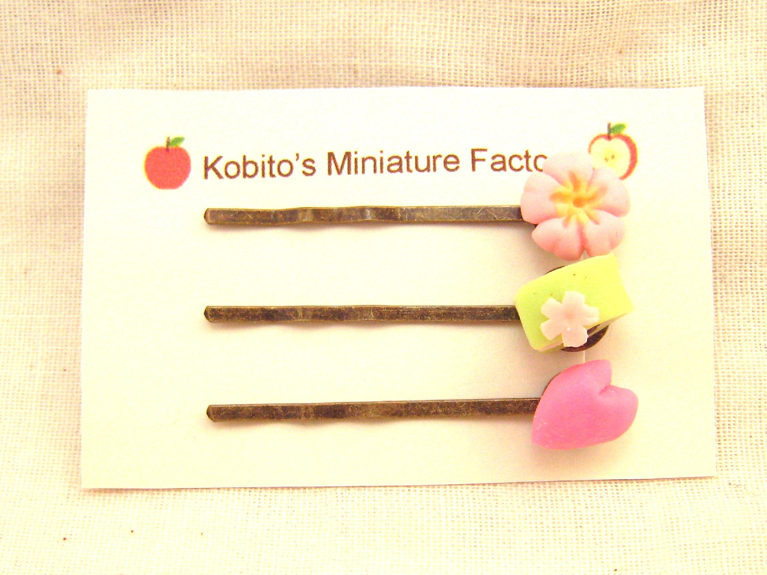 桜の和菓子のヘアピン01131