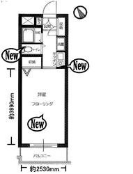 セザール南大井101号間取り図_R
