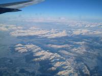 帰国のカナダ機 窓辺座席素晴しい風景を機内から眺める。