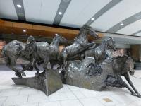 カルガリー空港ロビー 馬の彫刻が迎えてくれる。