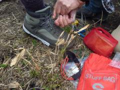 登山靴 緊急修理 器材持参と技術 Kさんに敬服