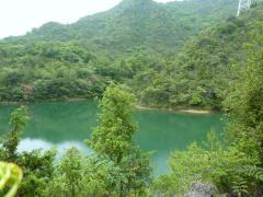 10:50 青谷池 山麓の青々とした水面を見て通る。