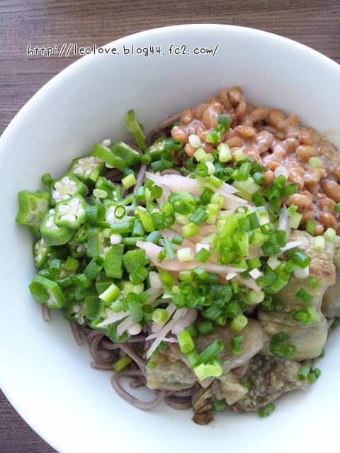 納豆オクラ焼き茄子ぶっかけ蕎麦
