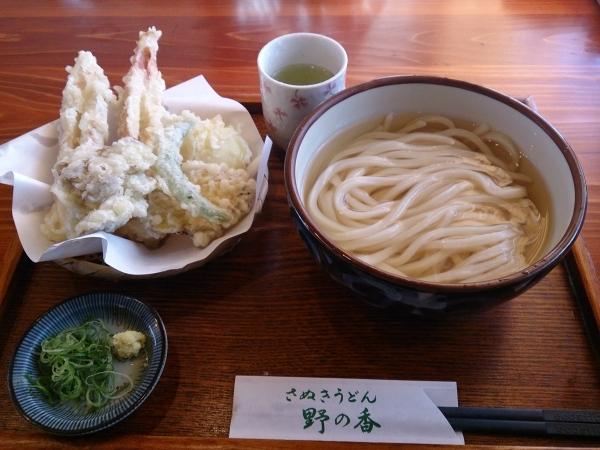 野の香 天ぷらうどんセット かけうどん 温い 900円