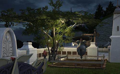 ハウジング 庭(夜)-畑