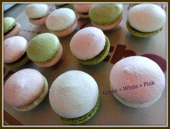 マカロン緑ピンク白
