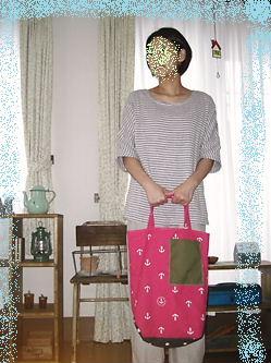 イカリ柄のピンク帆布