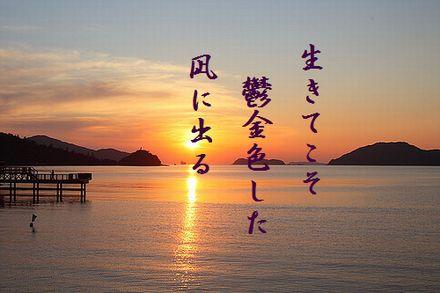 うみの夕日文字入