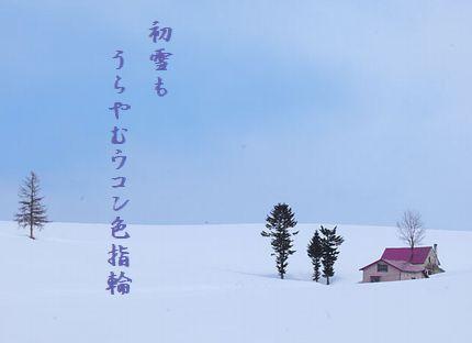 ゆき景色(北海道・美瑛の丘)文字入り新