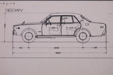 71年2月 セドリックセダン 三面図