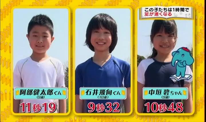 1時間で足が速く、計測前、阿部健太郎君(9歳)、石井飛向(ひゅうが)君(10歳)、中垣碧(あおい)ちゃん(9歳)