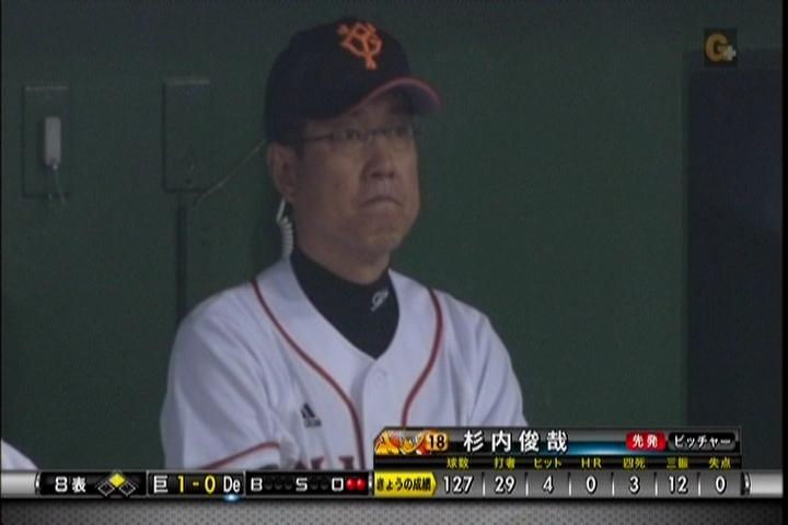 試合中、ベンチの原監督の表情
