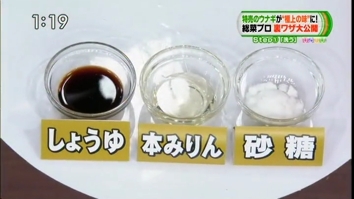 ウナギ、醤油、本みりん、砂糖を使用