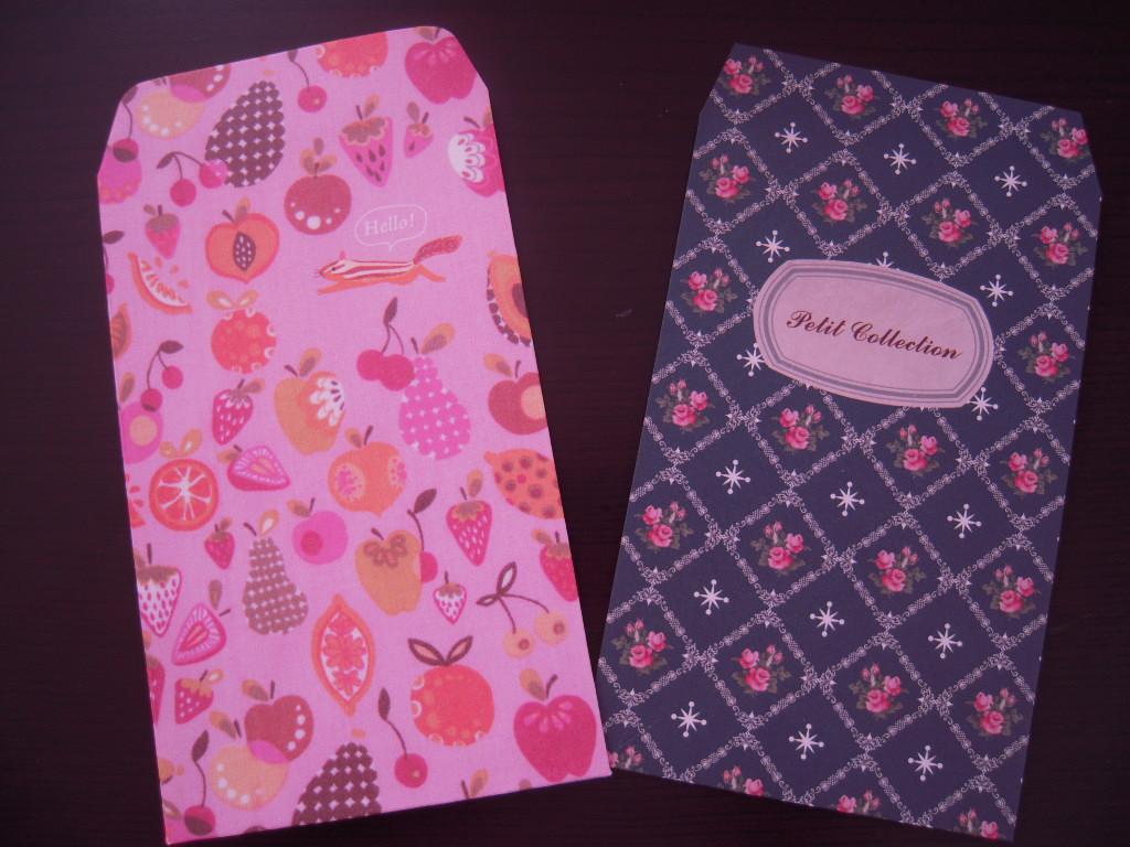 セリア☆ 花柄とフルーツ柄のぽち袋☆