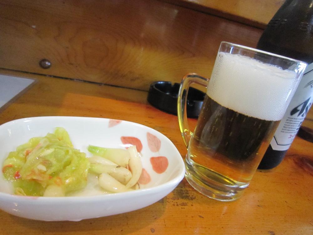 ビールと漬け物