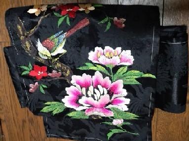 鳥と花の刺繍帯CA1UX8VO
