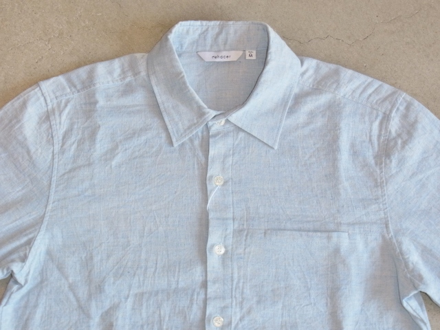 rehacer 8 sleeve linen shirt Lblue ft1
