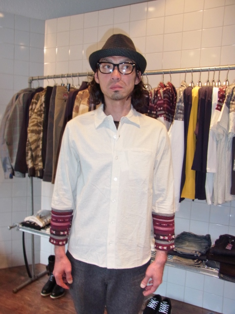 rehacer 8 sleeve linen shirt Lblue st