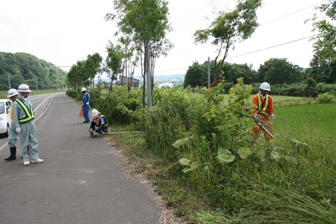 20120706北央道路工業(株)が明日萌街道の草刈り