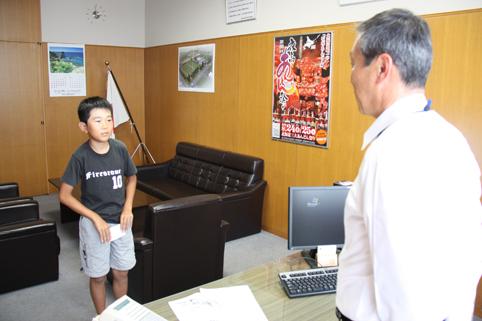 20120725塩田銀己くんがBG海洋体験セミナー参加のため挨拶
