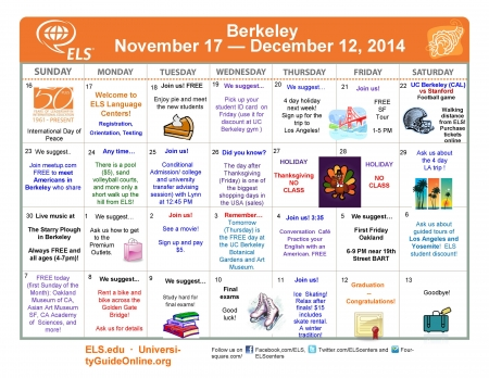 ELS Berkeley Activity Calendar 12A, 2014