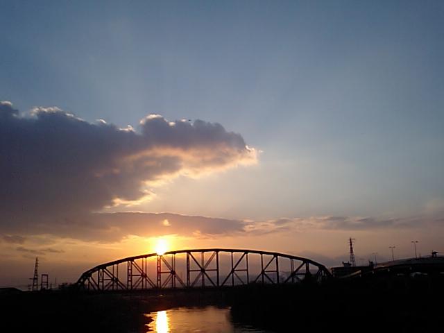 夕暮れの澱川橋梁2