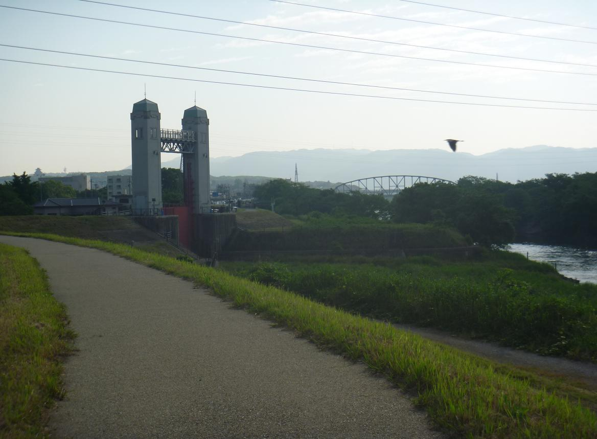 夕暮れの澱川橋梁