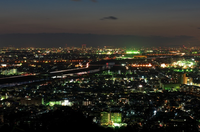 柏原市 妙法寺 大和川 夕焼け 夕景・夜景