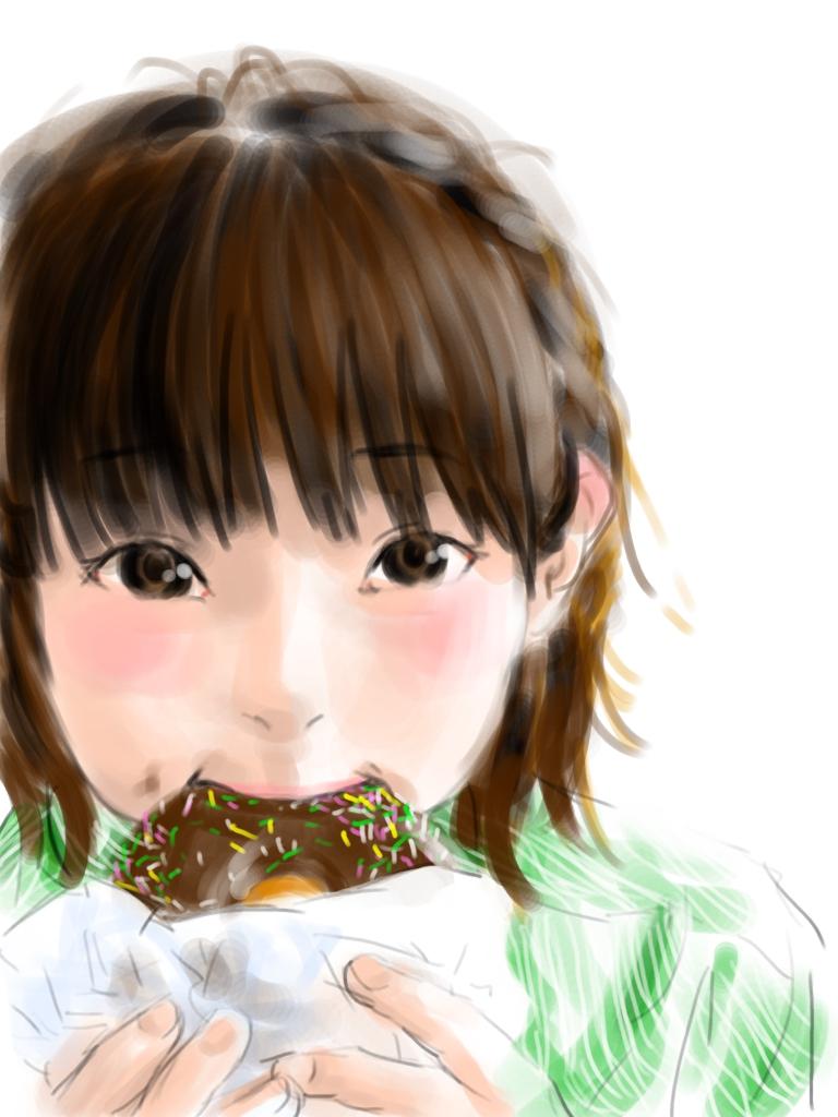 ドーナツを食べる少女