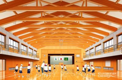 学校 体育館 内観パース 室内パース インナーパース 完成予想図 手書きパース 手描きパース フォトショップ