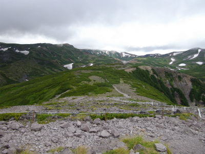 黒岳頂上から石室方面