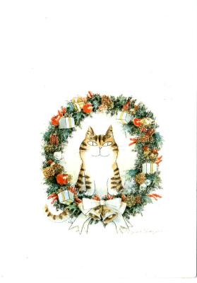クリスマスカード(リース猫)