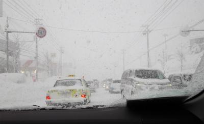 岩見沢市内・・・渋滞で動けない