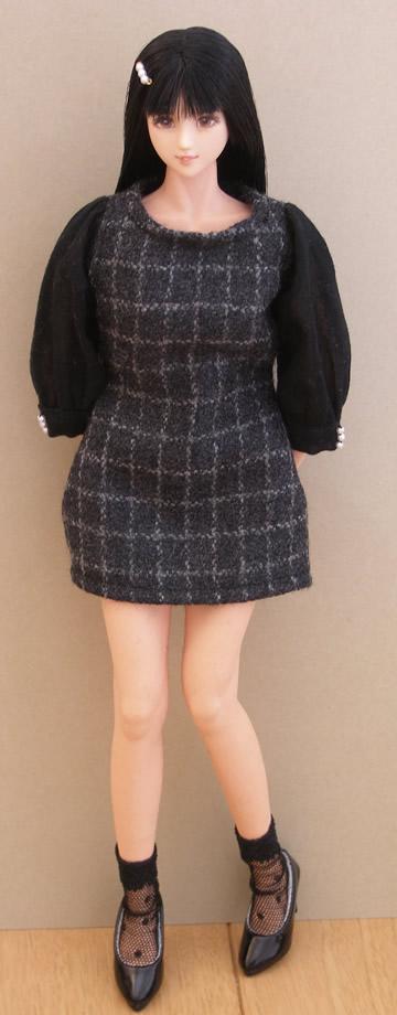Black checked dress2
