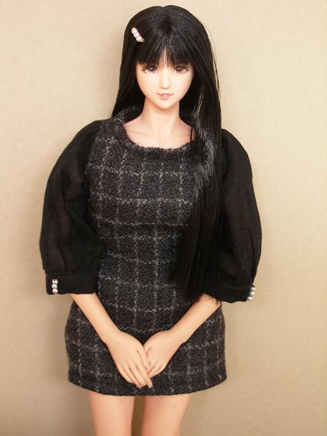 Black checked dress3