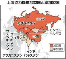 2012-06-26_Russia_上海協力機構(SCO)加盟国(中国とロシア、それに旧ソ連の中央アジア4カ国(カザフスタン、キルギス、タジキスタン、ウズベキスタン))と準加盟国=2012年6月25日現在01