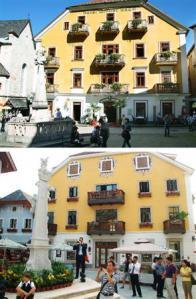 2012-10-25_Travel_China_中国、世界遺産の町コピー オーストリア住民は仰天01_オーストリア・ハルシュタット中心部に立つホテル(上)=9月(共同)と、そっくりに造られた中国版ハルシュタットの建物=6月、中国広東省(ショイツ町長提供・共同)