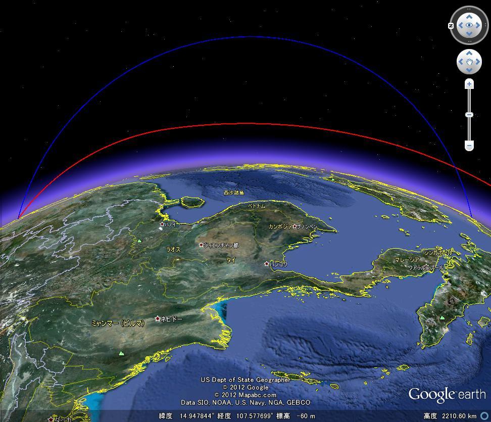 赤が衛星の打ち上げ、青が弾道ミサイルの軌道