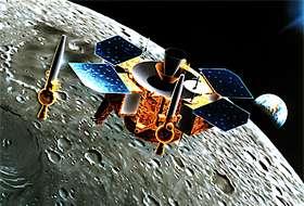 探査機ルナーA(オービター)と月面に降下するペネトレーター