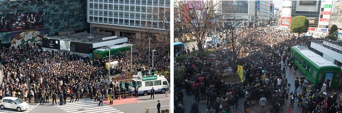 駅前広場が人で埋め尽くされました。