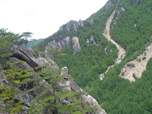 スラブ状岩壁からのマラ岩方面