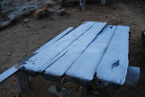 霜のベンチ