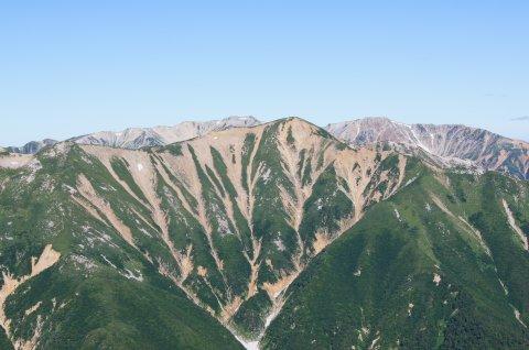 赤牛岳と後方は薬師岳