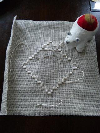 Mちゃん改め キノコちゃんの刺繍教室