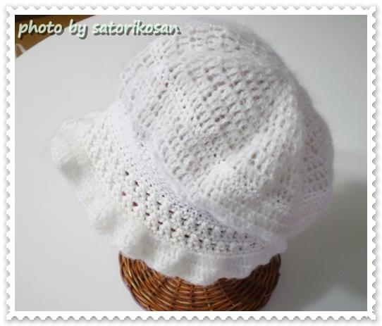 ホワイト:深めの帽子:フリー1