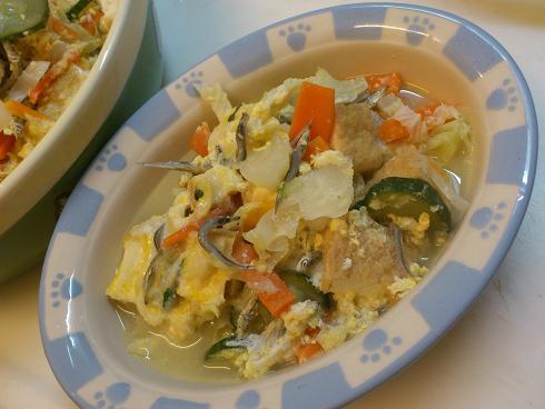 厚揚げと野菜の卵とじ